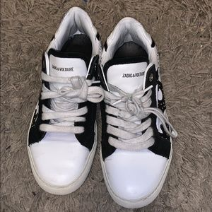 Blacks & white studded zadig & Voltaire sneakers